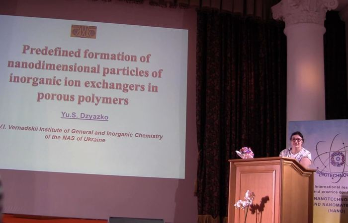 Predefined formation of nanodimensional particles of inorganic ion-exchangers in porous polymers